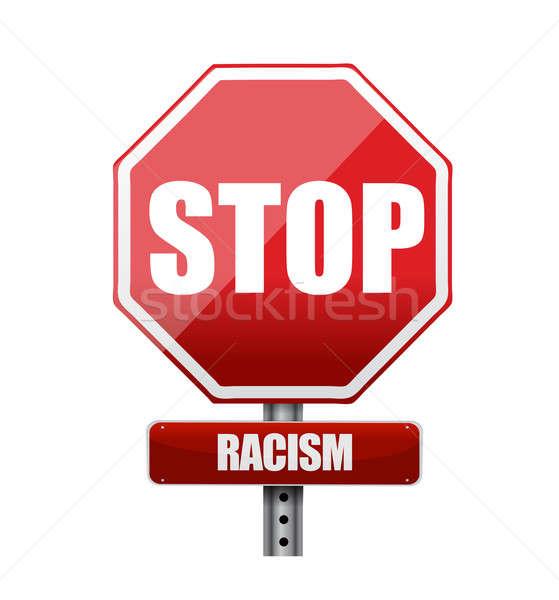 stop racism road sign illustration design Stock photo © alexmillos