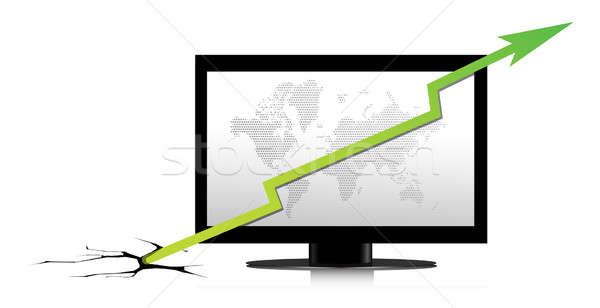 Monitor groene grafiek kantoor Blauw notebook Stockfoto © alexmillos