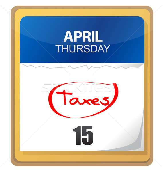 The big Tax Day, the 15th, is circled on a white calendar Stock photo © alexmillos