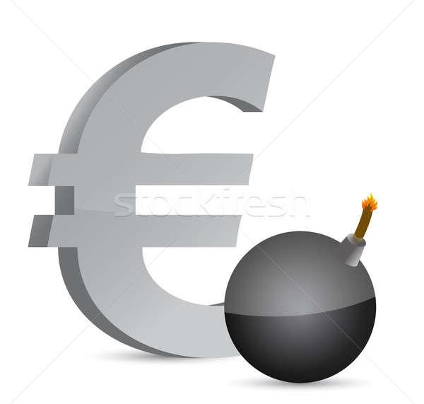 Explosivo euro símbolo ilustração projeto Foto stock © alexmillos