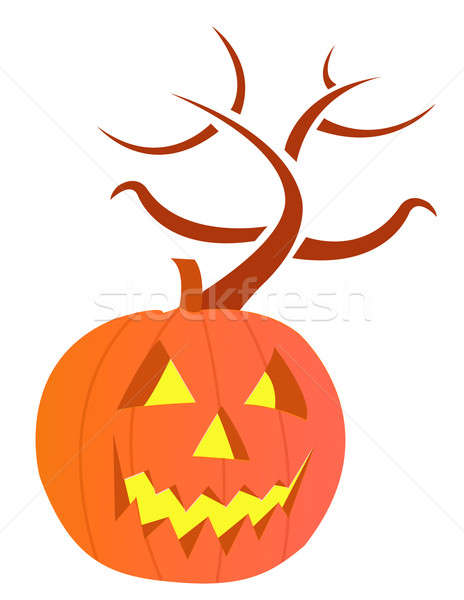 pumpkin with large carved scary evil face Stock photo © alexmillos