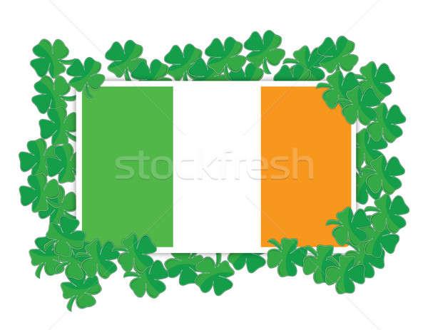 Irish flag around Shamrocks illustration design over white Stock photo © alexmillos