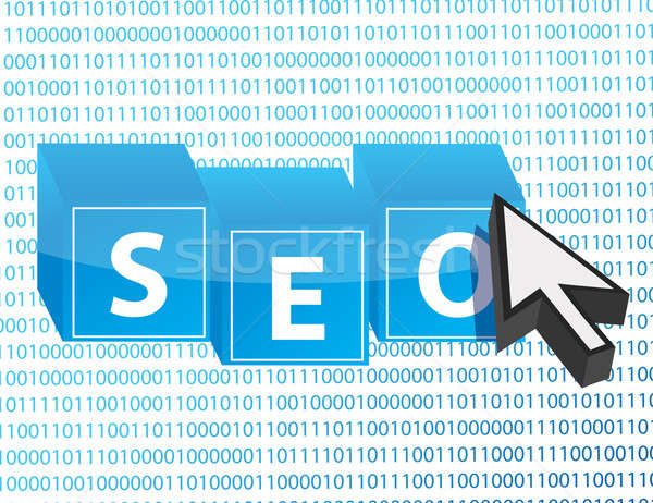 SEO button and arrow cursor over binary background Stock photo © alexmillos