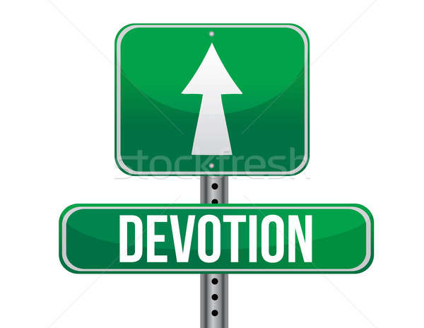 Devotion traffic road sign illustration design over white Stock photo © alexmillos