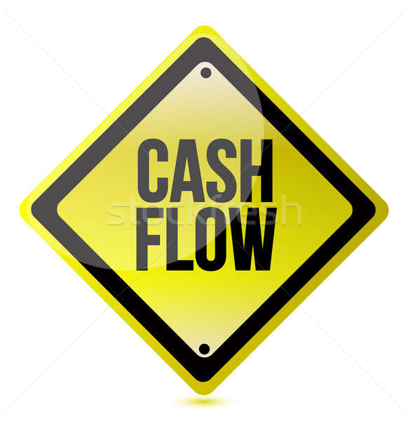 cash flow yellow sign illustration design over white Stock photo © alexmillos