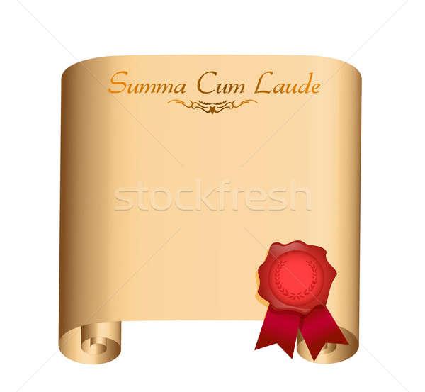 summa Cum Laude College graduation Diploma illustration design o Stock photo © alexmillos