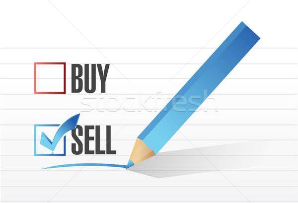 Stock photo: sell over buy check mark illustration design over white