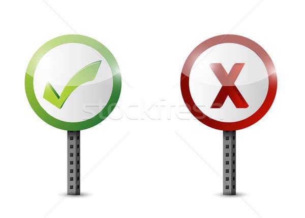 Ja geen verkeersbord illustratie ontwerp witte Stockfoto © alexmillos
