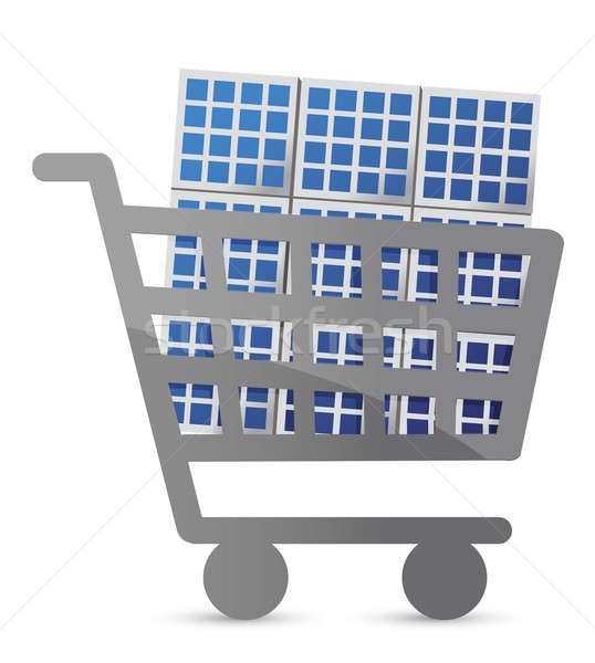 shopping cart and solar panel illustration design Stock photo © alexmillos