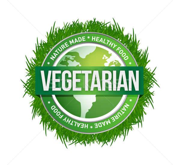 vegetarian green seal illustration design over a white backgroun Stock photo © alexmillos