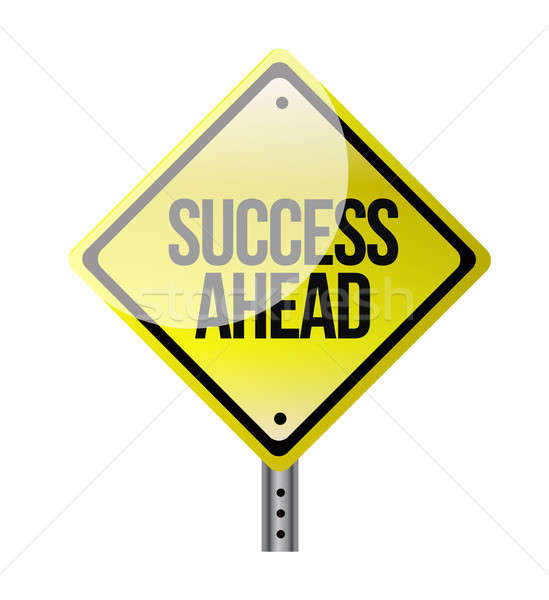 success ahead yellow road sign illustration design over white Stock photo © alexmillos