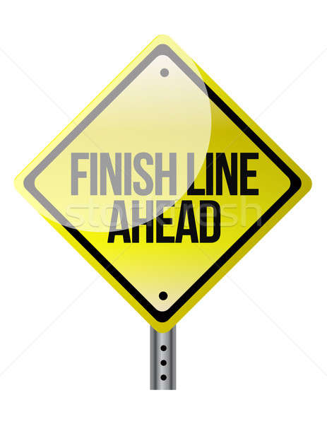 A road sign announcing the finish line coming up. illustration d Stock photo © alexmillos