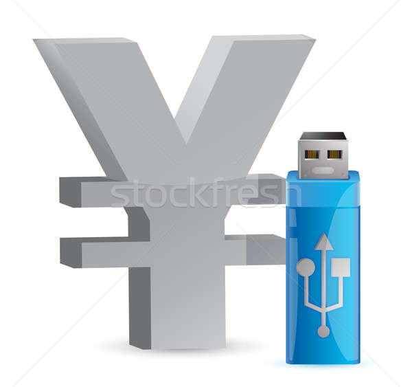 Valuta teken usb geheugen stick illustratie Stockfoto © alexmillos