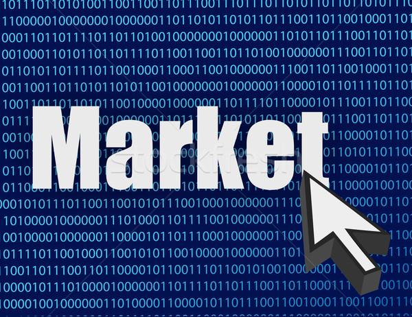 Piac kurzor illusztráció terv bináris számítógép Stock fotó © alexmillos