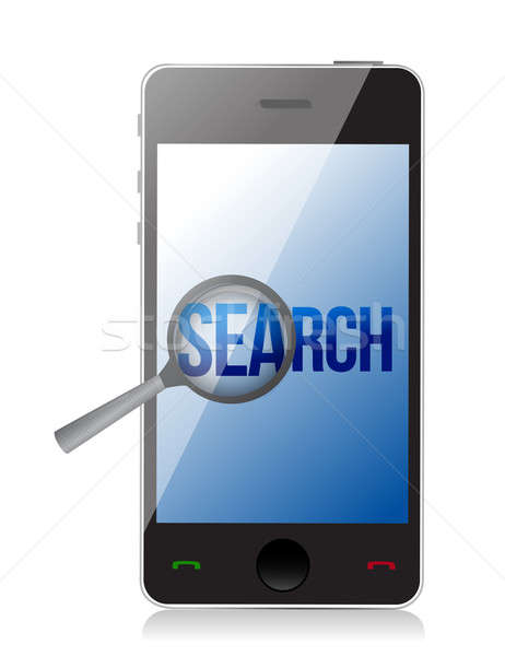 magnifier and search on a phone screen. Illustration design Stock photo © alexmillos