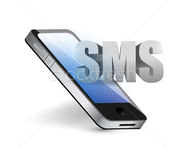 sms phone message concept illustration design over white Stock photo © alexmillos