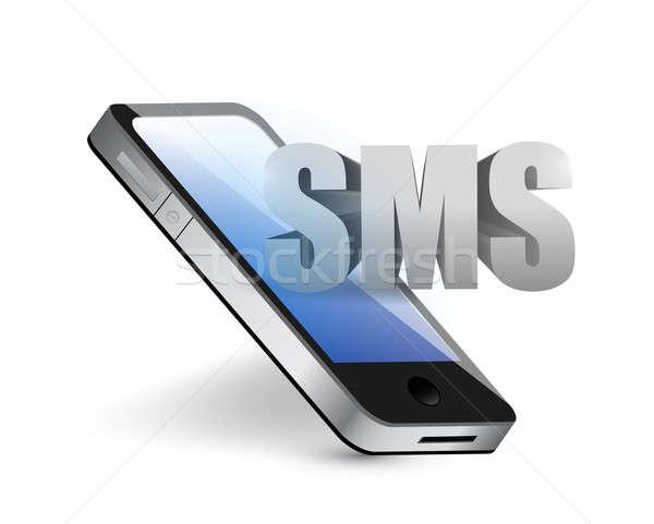 Sms telefon üzenet illusztráció terv fehér Stock fotó © alexmillos