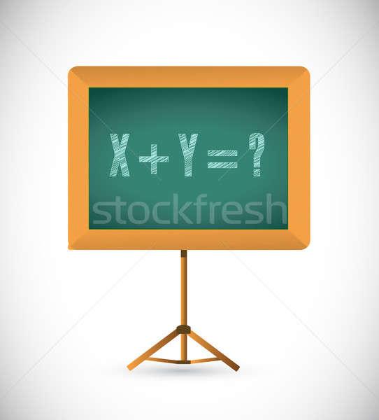 математический уравнение доске иллюстрация дизайна белый Сток-фото © alexmillos