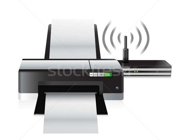 Nyomtató router kapcsolat illusztráció terv fehér Stock fotó © alexmillos