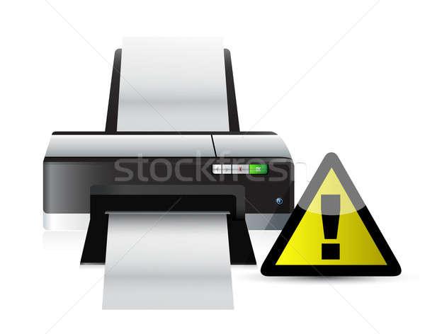 printer warning sign concept illustration design over white Stock photo © alexmillos