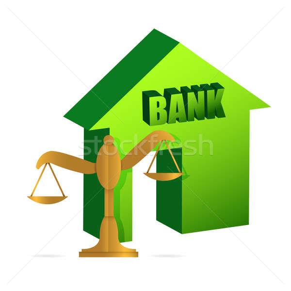 Bank and gold balance Stock photo © alexmillos