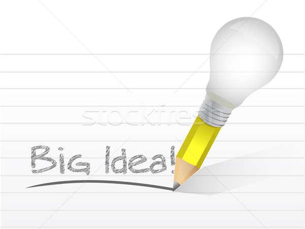 Big idea light bulb pencil concept illustration  Stock photo © alexmillos