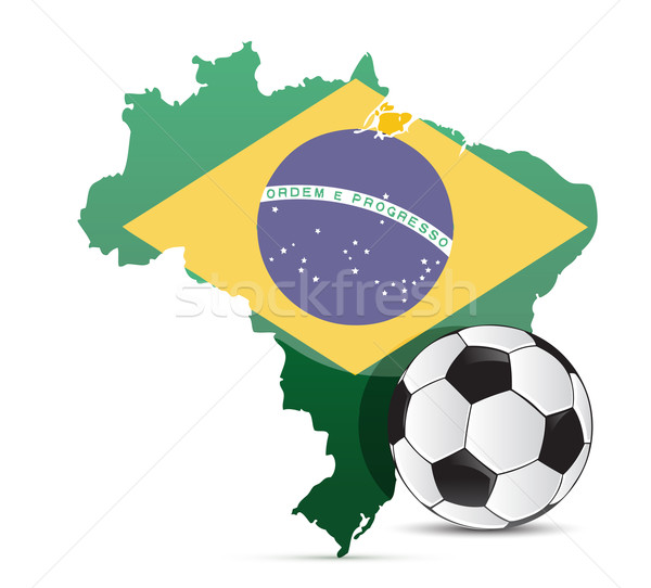 Brazilian flag map and soccer ball isolated  Stock photo © alexmillos