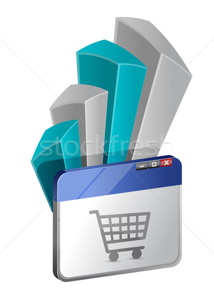 Browser window with Shopping Cart and graph Stock photo © alexmillos