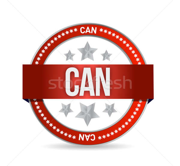 Can on red rubber stamp illustration Stock photo © alexmillos