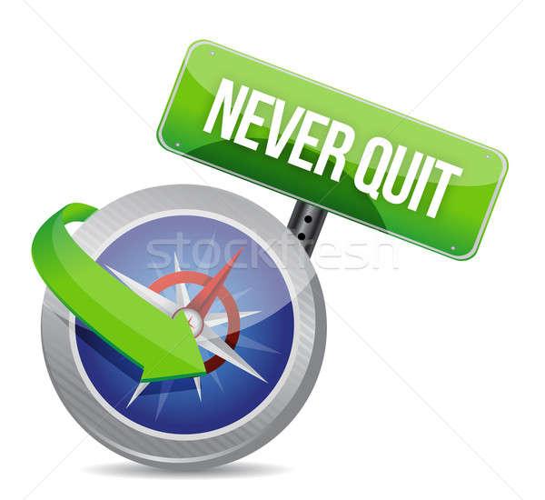 Never quit compass guide illustration design Stock photo © alexmillos