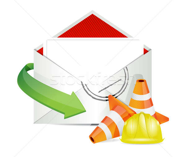 Envelope under construction sign Stock photo © alexmillos