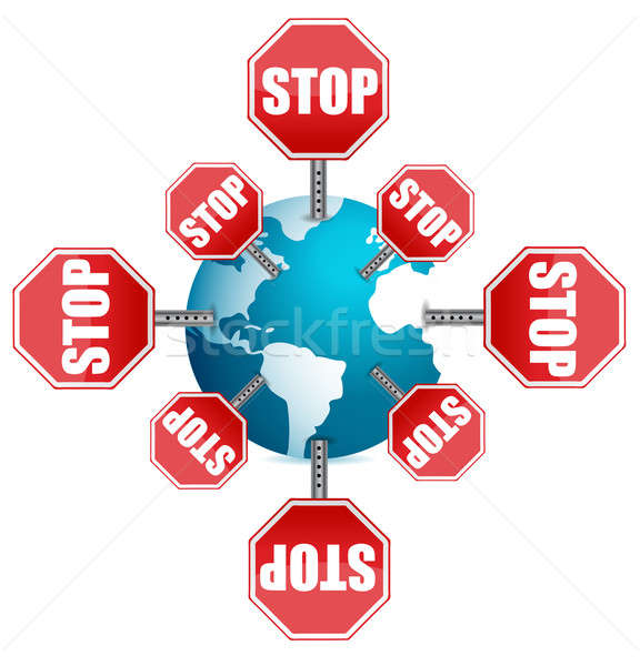 Stop sign around the globe Stock photo © alexmillos