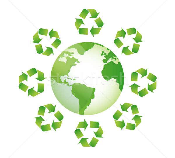 globe white recycle sings around illustration design Stock photo © alexmillos