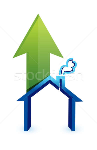 Arrow with house. rising prices in housing market Stock photo © alexmillos