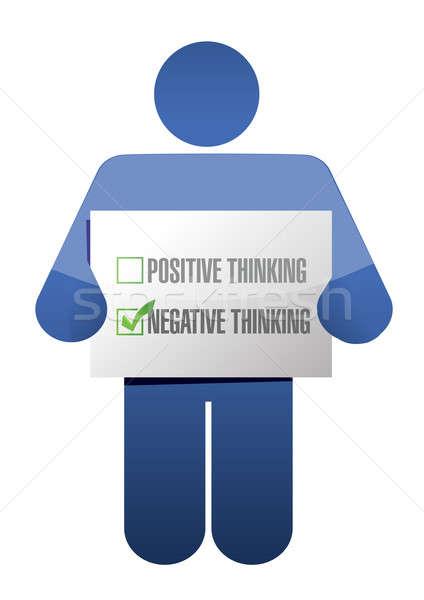 негативных мышления знак иллюстрация дизайна белый Сток-фото © alexmillos