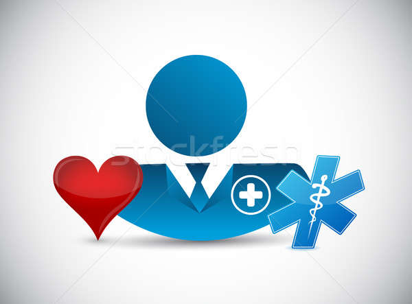doctor and love heart. isolated illustration Stock photo © alexmillos