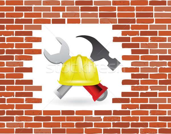 brick wall under construction Stock photo © alexmillos