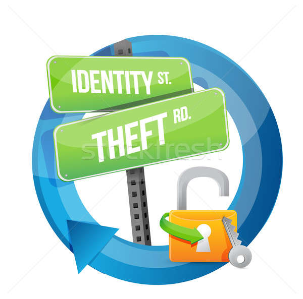 identity theft road sign illustration design Stock photo © alexmillos