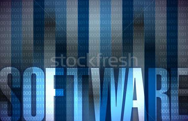 Software tecnologia azul binário ilustração projeto Foto stock © alexmillos