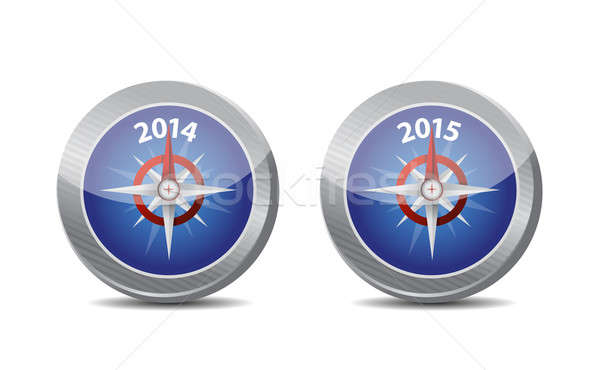 Stock photo: 2014, 2015 compass guide illustration