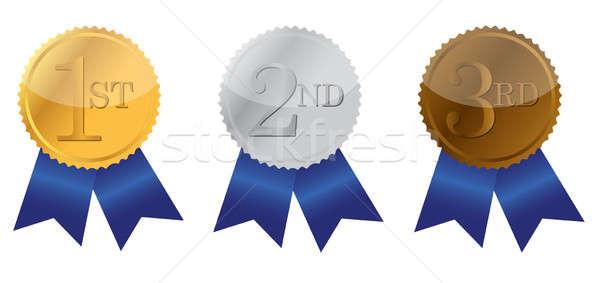 Three ribbon of Achievement, gold, silver and bronze illustratio Stock photo © alexmillos