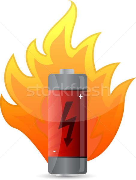 battery on fire illustration design over white Stock photo © alexmillos