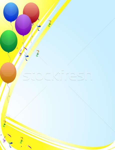 Színes születésnapi üdvözlet léggömbök boldog születésnap narancs Stock fotó © alexmillos