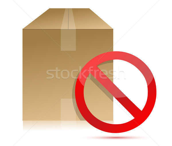 Shipping box with don't sign illustration Stock photo © alexmillos