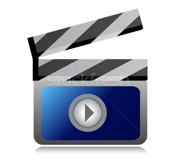 video movie clipper illustration design over a white background Stock photo © alexmillos