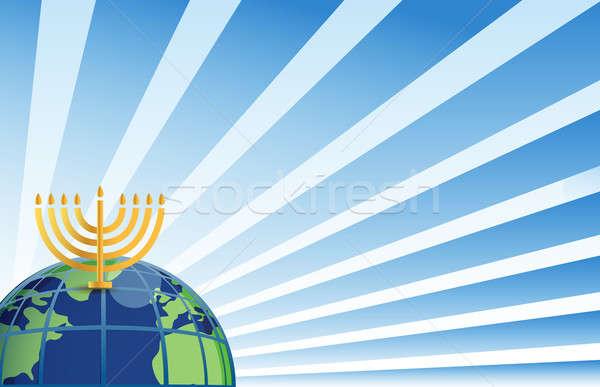 hanukkah around the globe illustration Stock photo © alexmillos