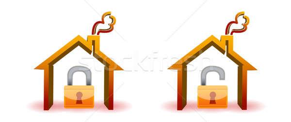 safe and unsafe house icons isolated over a white background Stock photo © alexmillos