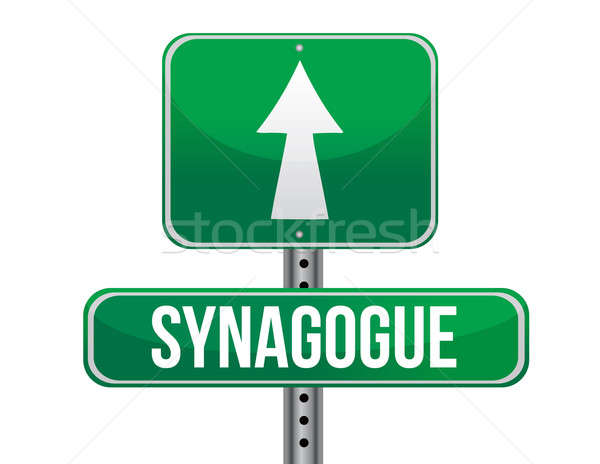 Sinagoga placa sinalizadora metal assinar verde tráfego Foto stock © alexmillos