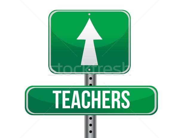Stock fotó: Tanárok · jelzőtábla · illusztráció · terv · fehér · utca