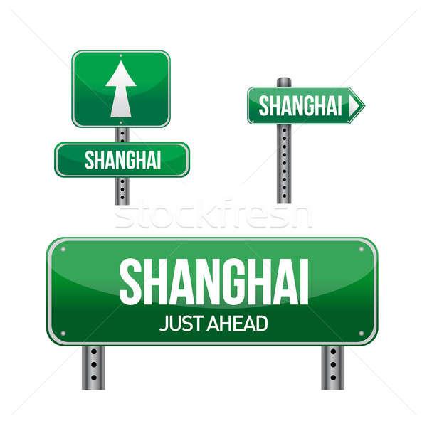 Шанхай город дорожный знак иллюстрация дизайна белый Сток-фото © alexmillos